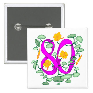 Floral 80th Birthday Gifts 15 Cm Square Badge