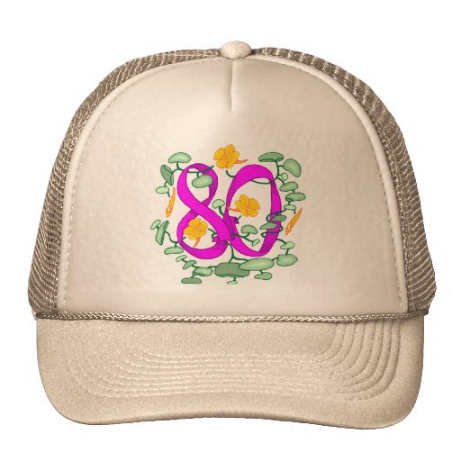 Floral 80th Birthday Gifts Hats