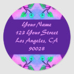 Floral Abstract address label Round Sticker