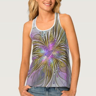 Floral abstract and colorful Fractal Art Tank Top