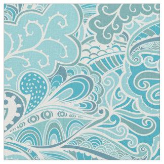 Floral Abstract Aqua Fabric