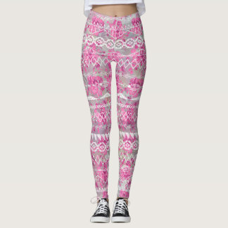 Floral Abstract Aztec Tribal Purple Pink Pattern Leggings