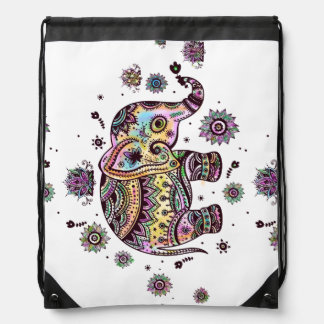 Floral Abstract Elephant Illustration Backpacks