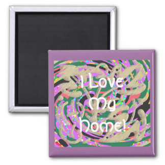 Floral Abstract Square Magnet