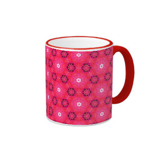 Floral Abstract Red Modern Flowers Hexagon Quilt Ringer Mug