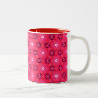 Floral Abstract Red Modern Flowers Hexagon Quilt Two-Tone Coffee Mug
