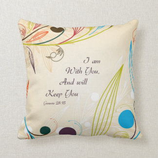 Floral Abstract w/Christian Quote Throw Pillow