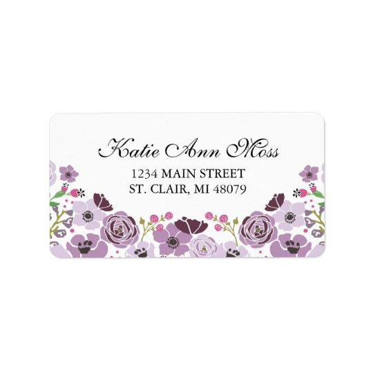 Floral Address Label  | Purple