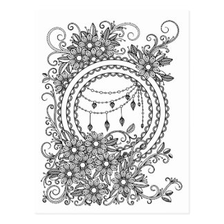 Floral Adult Colouring Postcard