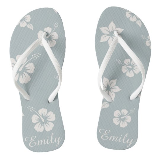 Floral Aloha Hawaii blue Flip Flops easy customise