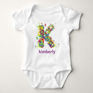 Floral Alphabet Name Baby Tee (Monogram K)