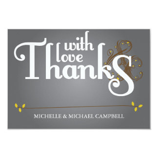Floral Amperstand Thank You Card Grey & Yellow 9 Cm X 13 Cm Invitation Card