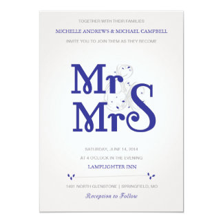 "Floral Amperstand Wedding Invitation in Navy 5"" X 7"" Invitation Card"
