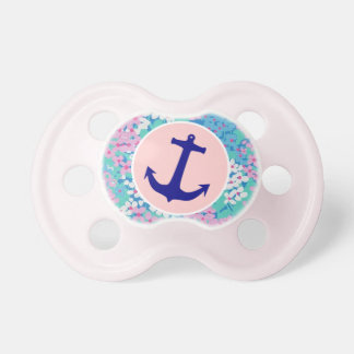 Floral Anchor Baby Girl Pacifier