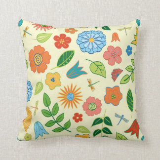 Floral and Dragonfly Patterned Cushion