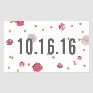 Floral and Gold Confetti Date Sticker