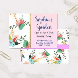 Floral and Gold Stripe Business Card