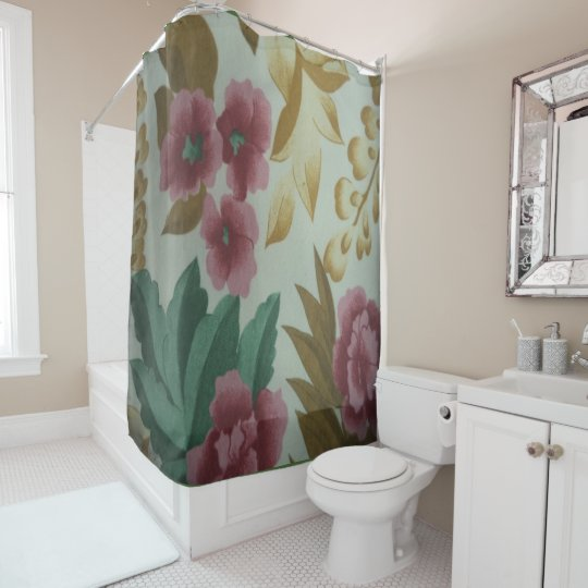 Floral and Leaf Shower Curtain