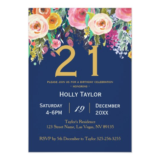 Floral and Navy 21st Birthday Invitation