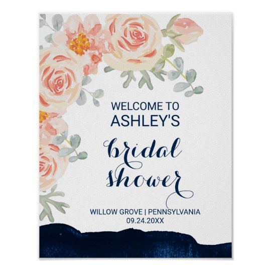 Floral and Navy Watercolor Bridal Shower Welcome Poster