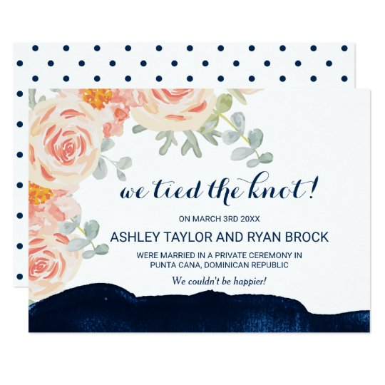 Floral and Navy Watercolor Elopement Announcement
