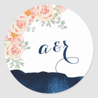 Floral and Navy Watercolor Wedding Envelope Seals