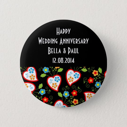 Floral and romantic hearts 6 cm round badge