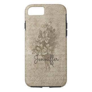 Floral Antique Bouquet Earthy Script Grunge iPhone 8/7 Case