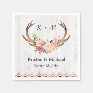 Floral Antler Boho Decor Rustic White Wood Wedding Disposable Serviettes