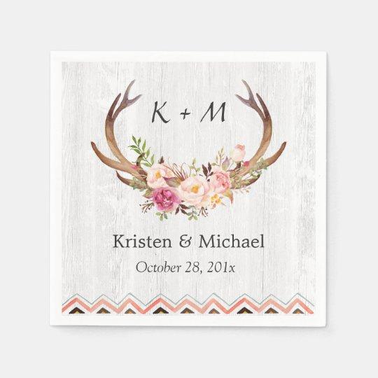 Floral Antler Boho Decor Rustic White Wood Wedding