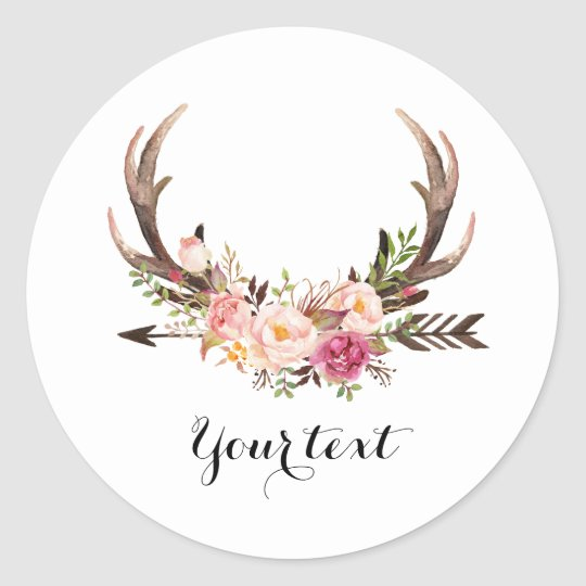 Floral Antler sticker with custom text