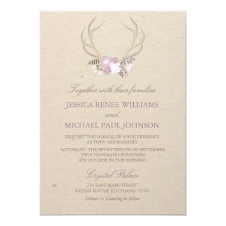 Floral Antler Wedding Invitations