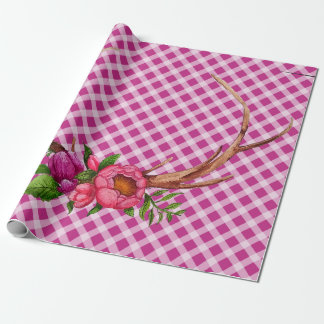 Floral Antlers and Pink Gingham Wrapping Paper