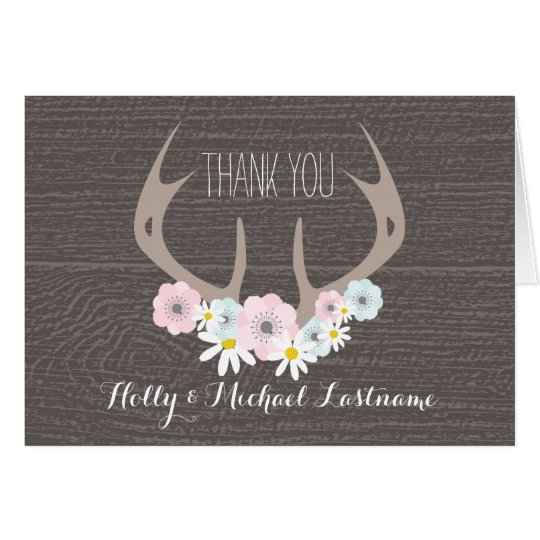 Floral Antlers + Barnwood Thank You Card