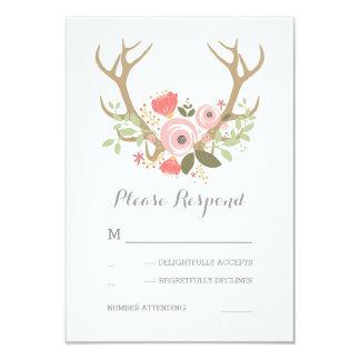 Floral Antlers Boho Wedding RSVP 9 Cm X 13 Cm Invitation Card
