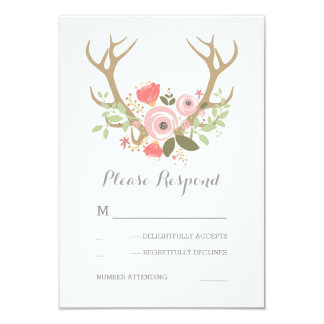 Floral Antlers Boho Wedding RSVP Card