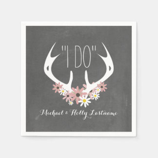 Floral Antlers Chalkboard Inspired Wedding Disposable Serviette