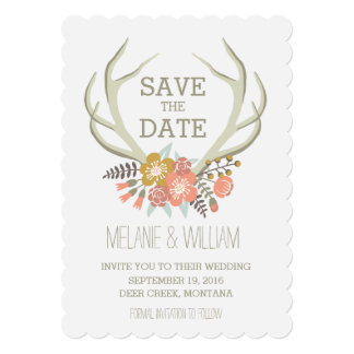 "FLORAL ANTLERS | RUSTIC SAVE THE DATE 5"" X 7"" INVITATION CARD"