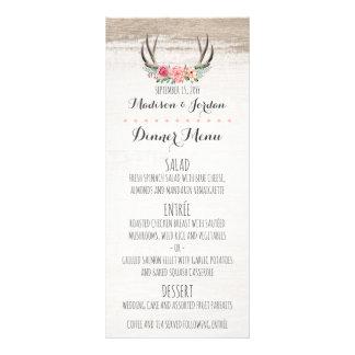 Floral Antlers Rustic Wedding Custom Dinner Menu
