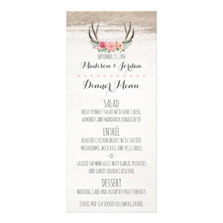 Floral Antlers Rustic Wedding Custom Dinner Menu Rack Card