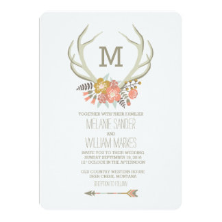 FLORAL ANTLERS | RUSTIC WEDDING INVITATION