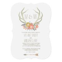 FLORAL ANTLERS   RUSTIC WEDDING INVITATION