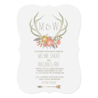 "FLORAL ANTLERS | RUSTIC WEDDING INVITATION 5"" X 7"" INVITATION CARD"