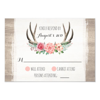 Floral Antlers Rustic Wedding Personalized RSVP 9 Cm X 13 Cm Invitation Card