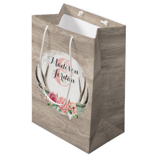 Floral Antlers Rustic Wood Wedding Personalized Medium Gift Bag