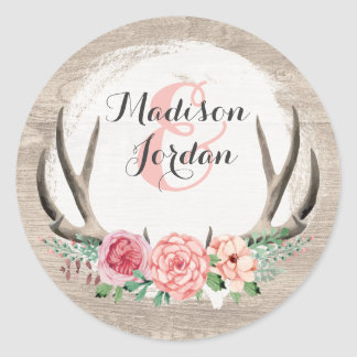 Floral Antlers Rustic Wood Wedding Personalized Round Sticker