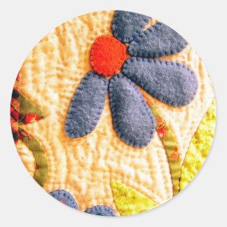 Floral Applique Pattern Round Sticker