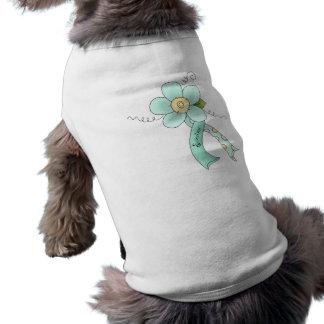 Floral Aqua Awareness Ribbon Survivor Dog Shirt