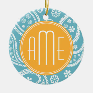 Floral Aqua Blue Paisley Pattern & Yellow Monogram Double-Sided Ceramic Round Christmas Ornament