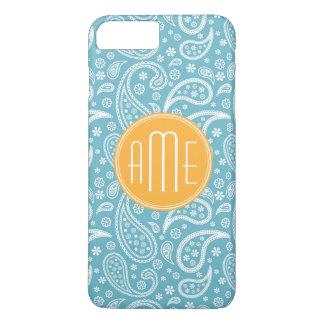 Floral Aqua Blue Paisley Pattern & Yellow Monogram iPhone 7 Plus Case